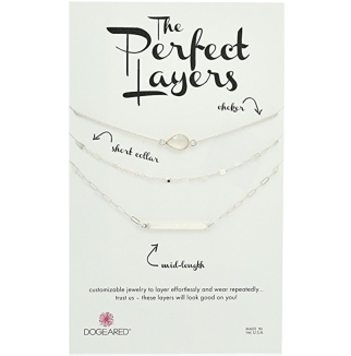 Dogeared Perfect Layer, Set Of 3 With Moonstone Choker Chain Necklace.png